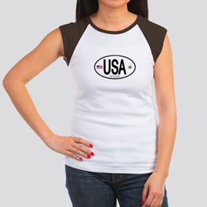 USA Euro-style Country Code Women's Cap Sleeve T-S