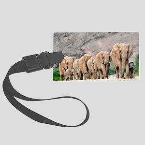 Desert-adapted elephants Large Luggage Tag