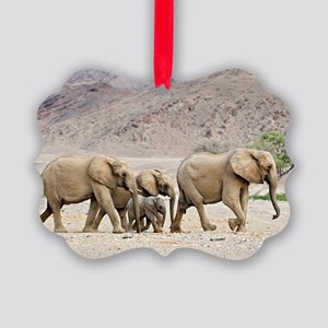 Desert-adapted elephants Picture Ornament