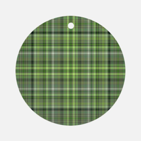 Green Plaid 4 Round Ornament