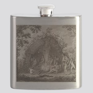 Fuegans in their hut, 18th century Flask