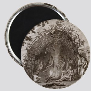 Fuegans in their hut, 18th century Magnet