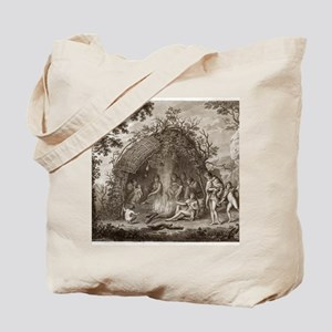 Fuegans in their hut, 18th century Tote Bag