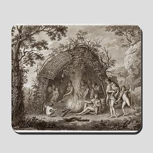 Fuegans in their hut, 18th century Mousepad