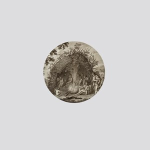Fuegans in their hut, 18th century Mini Button