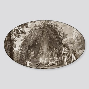 Fuegans in their hut, 18th century Sticker (Oval)