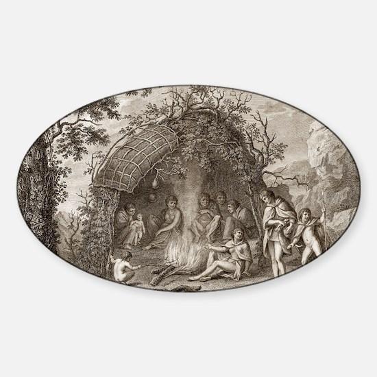 Fuegans in their hut, 18th century Sticker (Oval)