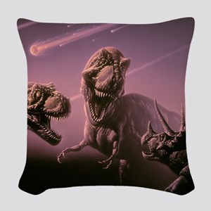 Death of dinosaurs Woven Throw Pillow