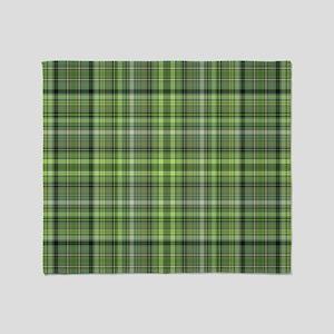 Green Plaid 4 Throw Blanket