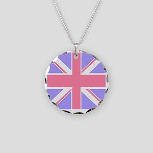 Union Jack 2 Necklace Circle Charm