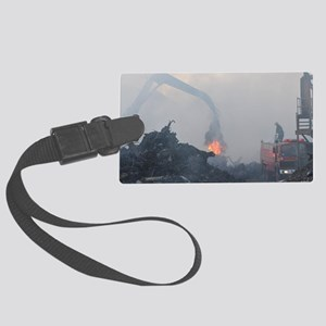 Fire in steel foundry Large Luggage Tag