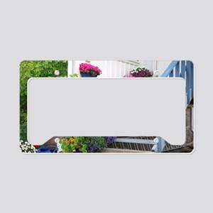 Flowers on porch stairs License Plate Holder