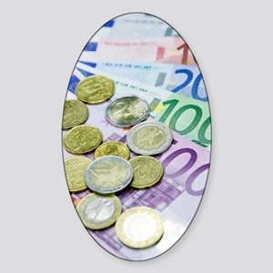 Euros in notes and coins Sticker (Oval)