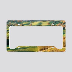 Copses and fields in autumn License Plate Holder