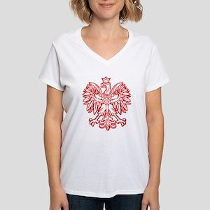 Polish Eagle Emblem Women's V-Neck T-Shirt
