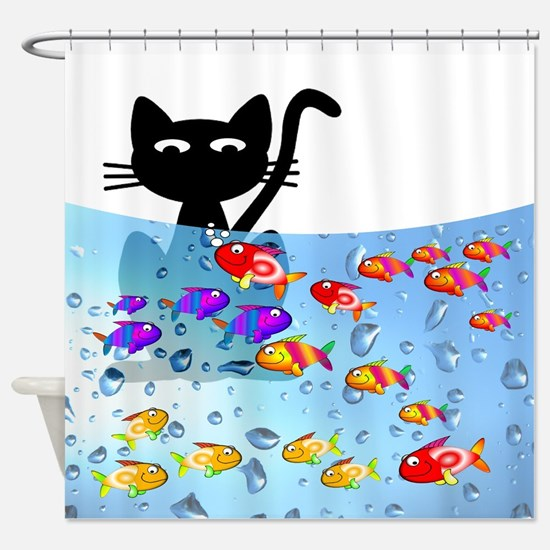 Whimsical Cat and Fish 1 Shower Curtain