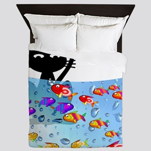 Whimsical Cat and Fish 1 Queen Duvet