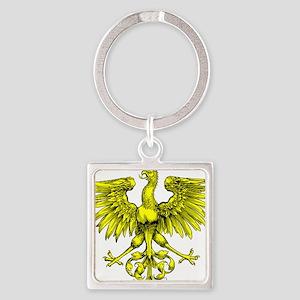 Yellow Phoenix Square Keychain