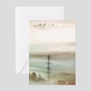 Electricity pylon in fog Greeting Card