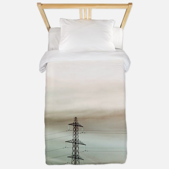 Electricity pylon in fog Twin Duvet
