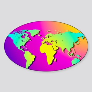 Computer art of the Earth (Mercator Sticker (Oval)