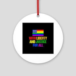 LGBT American Flag Round Ornament