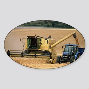 Combine harvester off-loading grain Sticker (Oval)