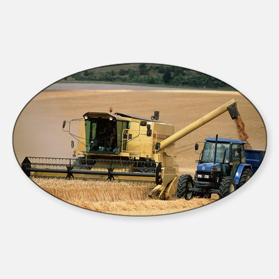 Combine harvester off-loading grain Sticker (Oval)