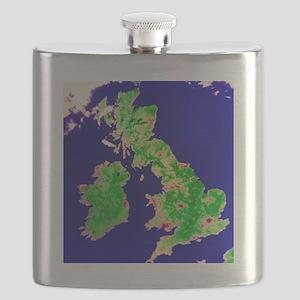 Coloured satellite image of the British Isle Flask