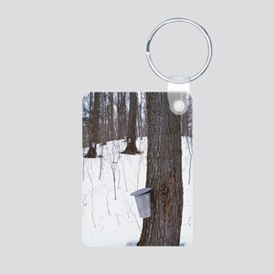 Collecting maple tree sap Aluminum Photo Keychain
