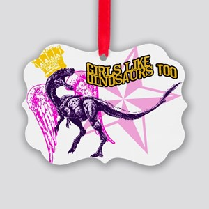 Girls Like Dinosaurs Too - Veloci Picture Ornament