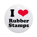 I Love Rubber Stamps Ornament (Round)