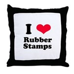 I Love Rubber Stamps Throw Pillow
