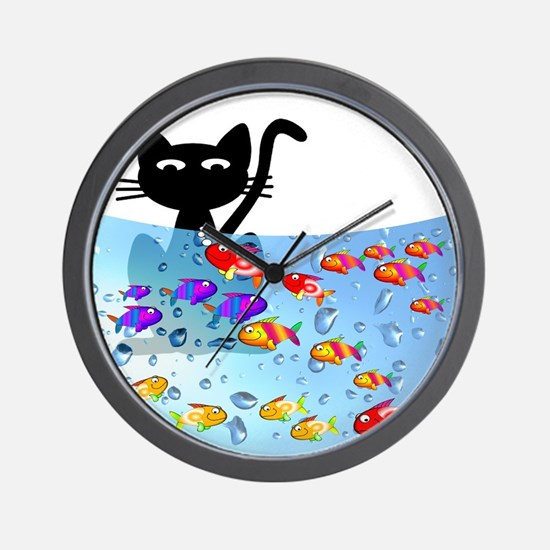 Whimsical Cat and Fish 1 Wall Clock