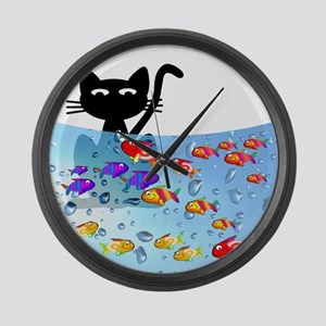 Whimsical Cat and Fish 1 Large Wall Clock