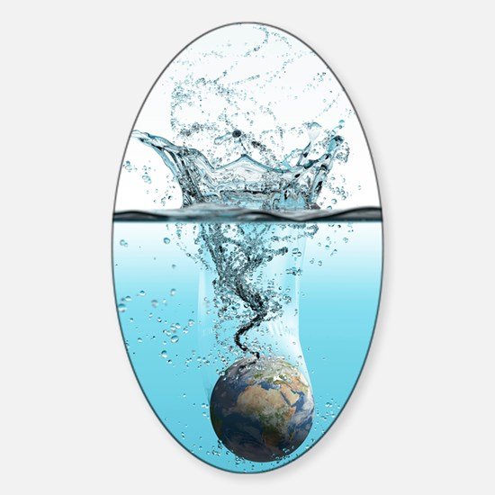 Drowning Earth, conceptual image Sticker (Oval)