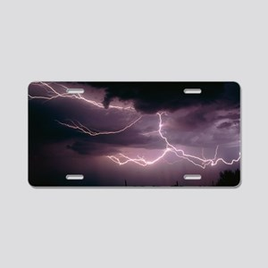 Cloud-to-cloud lightning ov Aluminum License Plate
