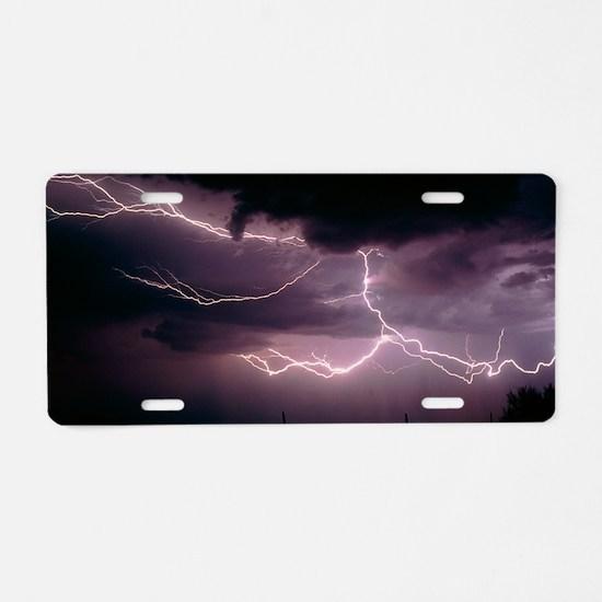 Cloud-to-cloud lightning ov Aluminum License Plate
