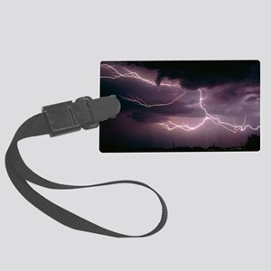 Cloud-to-cloud lightning over Tu Large Luggage Tag