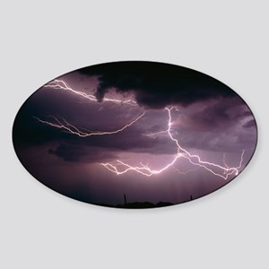 Cloud-to-cloud lightning over Tucso Sticker (Oval)