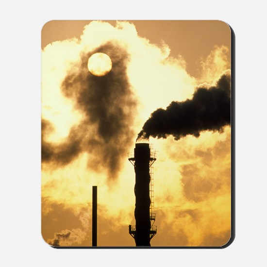 Chimney smoke from a chemical plant obsc Mousepad