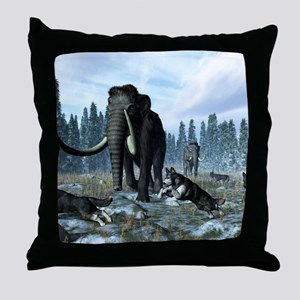 Dire wolves and mammoths, artwork Throw Pillow