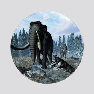 Dire wolves and mammoths, artwork Round Ornament