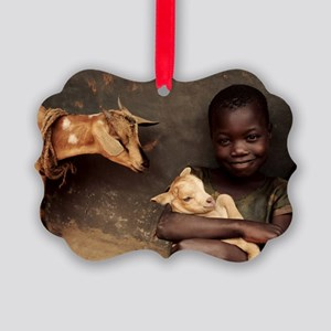 Child holding a kid Picture Ornament