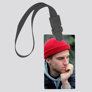 Depressed young man Large Luggage Tag