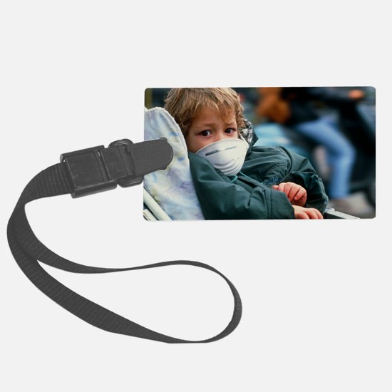 Child in buggy with air pollutio Luggage Tag