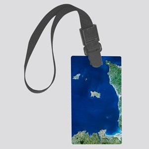 Channel Islands, satellite image Large Luggage Tag