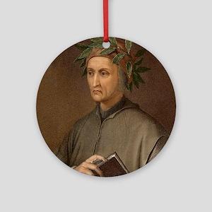Dante Alighieri poet wrote Divine C Round Ornament