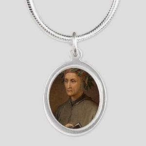 Dante Alighieri poet wrote Di Silver Oval Necklace