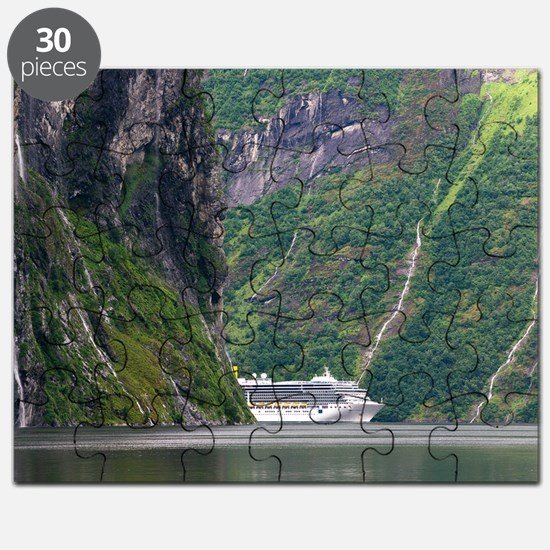 Cruise ship in a fjord, Norway Puzzle